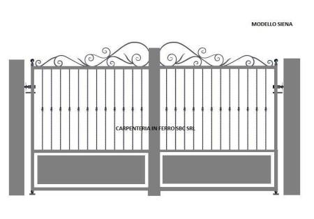 cancello in ferro battuto due ante modello siena