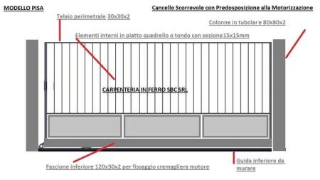Cancello in Ferro Scorrevole Modello Pisa