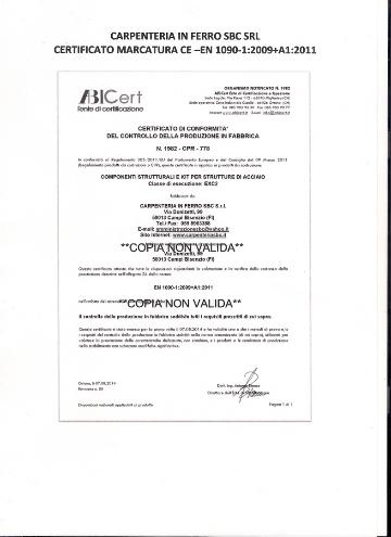 Certificato Marcatura Ce norma En 1090-1