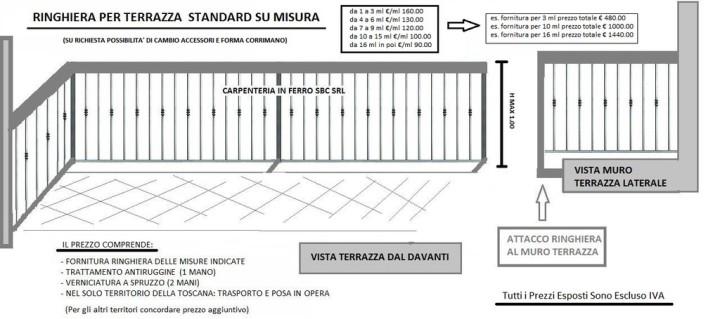RINGHIERA PER TERRAZZE BALCONI CARPENTERIA METALLICA FIRENZE PISTOIA QUARRATA PREZZI