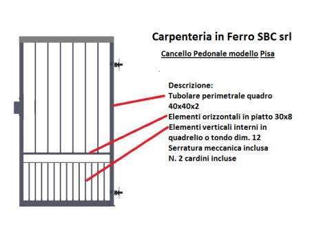 cancello pedonale in ferro battuto modello pisa