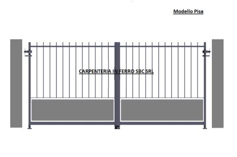 cancello in ferro battuto due ante modello pisa
