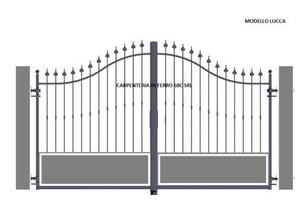 cancello in ferro battuto centinato modello lucca