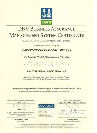UNI EN ISO 3838 rilasciata da DNV processo di saldatura qualificato
