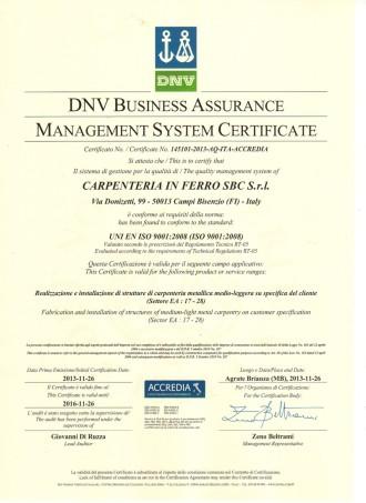 UNI EN ISO 9001:2008 - Sistema di Gestione per la Qualità